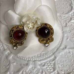 CHANEL Signed Vintage Dark Amber Stone Earrings